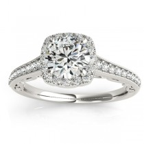 Diamond Square Halo Carved Engagement Ring Platinum (0.35ct)