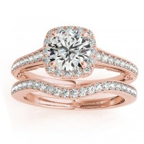 Diamond Antique Style Halo Bridal Set 14k Rose Gold (0.52ct)