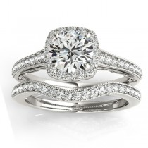 Diamond Antique Style Halo Bridal Set 14k White Gold (0.52ct)