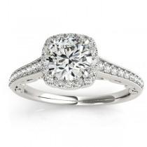 Diamond Antique Style Halo Bridal Set 14k White Gold (0.52ct)