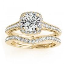 Diamond Antique Style Halo Bridal Set 18k Yellow Gold (0.52ct)