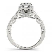 Diamond Antique Style Halo Bridal Set Palladium (0.52ct)