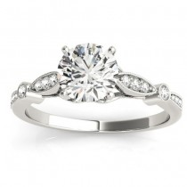 Marquise & Dot Diamond Vintage Engagement Ring 18k White Gold 0.13ct