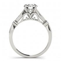 Marquise & Dot Diamond Vintage Engagement Ring 18k White Gold 0.13ct