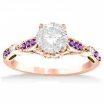 Marquise & Dot Amethyst Vintage Engagement Ring 14k Rose Gold 0.13ct