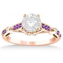 Marquise & Dot Amethyst Vintage Engagement Ring 14k Rose Gold 0.13ct