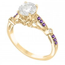 Marquise & Dot Amethyst Vintage Engagement Ring 14k Yellow Gold 0.13ct