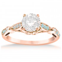 Marquise & Dot Aquamarine Vintage Engagement Ring 14k Rose Gold 0.13ct
