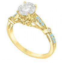 Marquise & Dot Aquamarine Vintage Engagement Ring 14k Yellow Gold 0.13ct