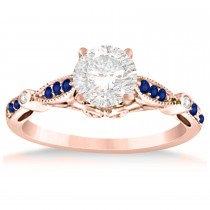 Marquise & Dot Blue Sapphire Vintage Engagement Ring 14k Rose Gold 0.13ct