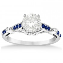 Marquise & Dot Blue Sapphire Vintage Engagement Ring 14k White Gold 0.13ct