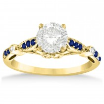 Marquise & Dot Blue Sapphire Vintage Engagement Ring 14k Yellow Gold 0.13ct