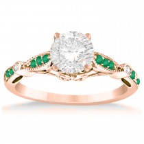 Marquise & Dot Emerald Vintage Engagement Ring 14k Rose Gold 0.13ct