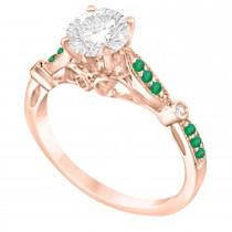 Marquise & Dot Emerald Vintage Engagement Ring 14k Rose Gold 0.13ct