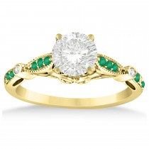 Marquise & Dot Emerald Vintage Engagement Ring 14k Yellow Gold 0.13ct