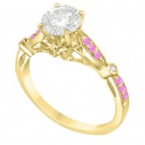Marquise & Dot Pink Sapphire Vintage Engagement Ring 14k Yellow Gold 0.13ct