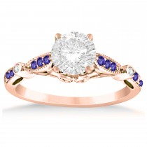Marquise & Dot Tanzanite Vintage Engagement Ring 14k Rose Gold 0.13ct