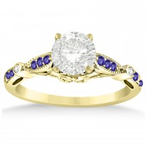 Marquise & Dot Tanzanite Vintage Engagement Ring 14k Yellow Gold 0.13ct