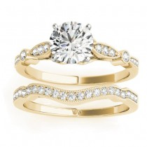 Marquise & Dot Diamond Vintage Bridal Set in 14k Yellow Gold (0.29ct)