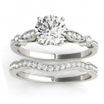 Marquise & Dot Diamond Vintage Bridal Set in 18k White Gold (0.29ct)