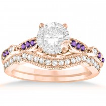 Marquise & Dot Amethyst Vintage Bridal Set in 14k Rose Gold (0.29ct)