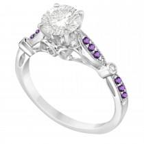 Marquise & Dot Amethyst Vintage Bridal Set in 14k White Gold (0.29ct)