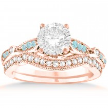 Marquise & Dot Aquamarine Vintage Bridal Set in 14k Rose Gold (0.29ct)