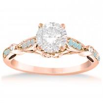 Marquise & Dot Aquamarine Vintage Bridal Set in 14k Rose Gold (0.29ct)