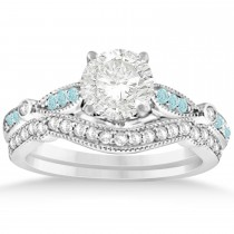 Marquise & Dot Aquamarine Vintage Bridal Set in 14k White Gold (0.29ct)