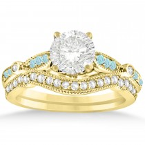 Marquise & Dot Aquamarine Vintage Bridal Set in 14k Yellow Gold (0.29ct)