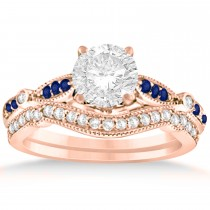 Marquise & Dot Blue Sapphire Vintage Bridal Set in 14k Rose Gold (0.29ct)
