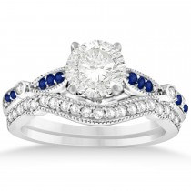 Marquise & Dot Blue Sapphire Vintage Bridal Set in 14k White Gold (0.29ct)