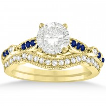 Marquise & Dot Blue Sapphire Vintage Bridal Set in 14k Yellow Gold (0.29ct)