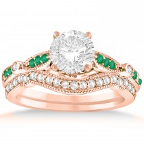 Marquise & Dot Emerald Vintage Bridal Set in 14k Rose Gold (0.29ct)