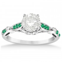 Marquise & Dot Emerald Vintage Bridal Set in 14k White Gold (0.29ct)