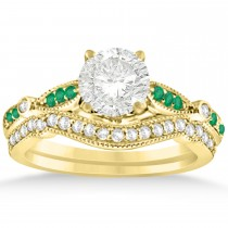 Marquise & Dot Emerald Vintage Bridal Set in 14k Yellow Gold (0.29ct)