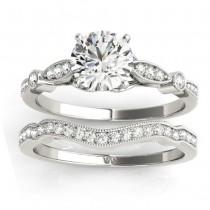 Marquise & Dot Diamond Vintage Bridal Set in Palladium (0.29ct)