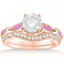 Marquise & Dot Pink Sapphire Vintage Bridal Set in 14k Rose Gold (0.29ct)