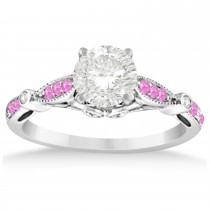 Marquise & Dot Pink Sapphire Vintage Bridal Set in 14k White Gold (0.29ct)