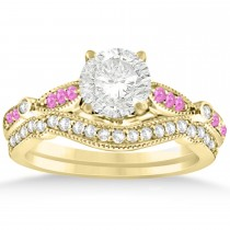 Marquise & Dot Pink Sapphire Vintage Bridal Set in 14k Yellow Gold (0.29ct)