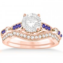 Marquise & Dot Tanzanite Vintage Bridal Set in 14k Rose Gold (0.29ct)