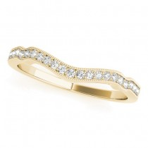 Diamond Accented Contoured Wedding Band in 18k Yellow Gold (0.17ct)