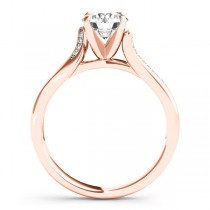 Diamond Pave Swirl Engagement Ring Setting 14k Rose Gold (0.13ct)