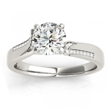 Diamond Pave Swirl Engagement Ring Setting 14k White Gold (0.13ct)