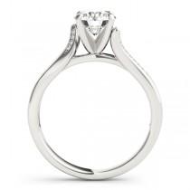 Diamond Pave Swirl Engagement Ring Setting 14k White Gold (0.13ct)