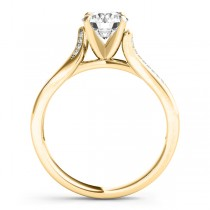 Diamond Pave Swirl Engagement Ring Setting 14k Yellow Gold (0.13ct)