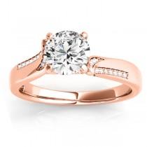 Diamond Pave Swirl Engagement Ring Setting 18k Rose Gold (0.13ct)