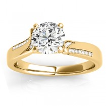 Diamond Pave Swirl Engagement Ring Setting 18k Yellow Gold (0.13ct)