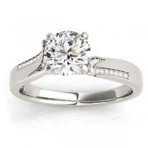 Diamond Pave Swirl Engagement Ring Setting Palladium (0.13ct)