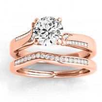 Diamond Pave Swirl Bridal Set Setting 14k Rose Gold (0.24ct)